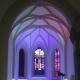 Die evangelische Kirche Linkenheim bei der Renovierung